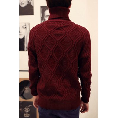 Гаджет   Stylish Turtle Neck Slimming Solid Color Argyle Kink Design Long Sleeve Thicken Cotton Blend Sweater For Men Sweaters & Cardigans