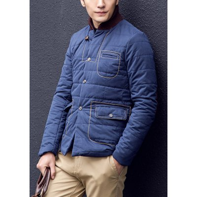Гаджет   Personality Rib Stand Collar Slimming Color Block Patch Embellished Long Sleeves Men