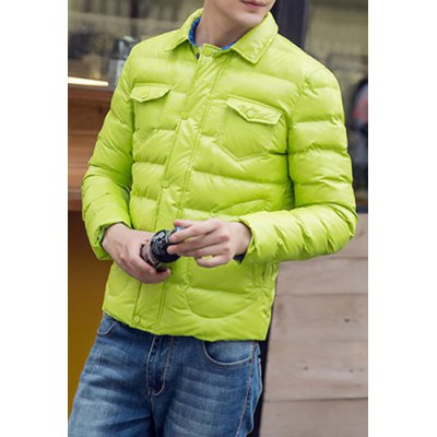 Гаджет   Slimming Lining Color Block Turn-down Collar Multi-Pocket Design Long Sleeves Men