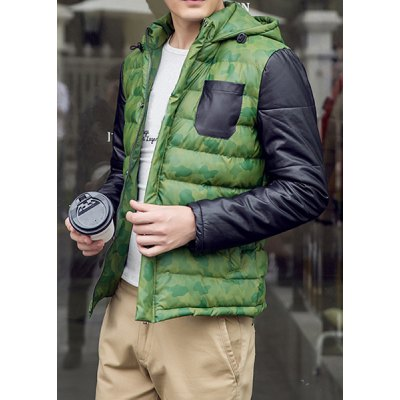 Гаджет   Camouflage Style Hooded Slimming Color Block PU Leather Splicing Long Sleeves Men