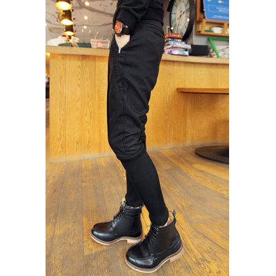 Гаджет   Loose Fit Stylish Embroidered Zipper Design Rib Splicing Narrow Feet Cotton Blend Harem Pants For Men Pants