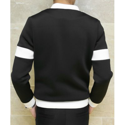 Гаджет   Laconic Stand Collar Fashion Color Splicing Slimming Long Sleeves Men
