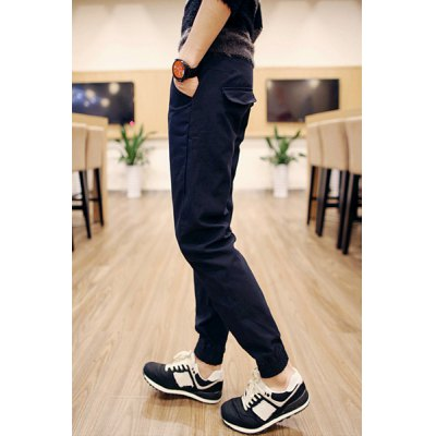 Гаджет   Slimming Stylish Pocket Sutures Design Beam Feet Cotton Blend Joggers Pants For Men Pants
