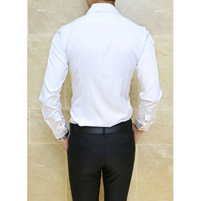 Гаджет   Stylish Turn-down Collar Slimming Solid Color Metal Embellished Long Sleeves Men