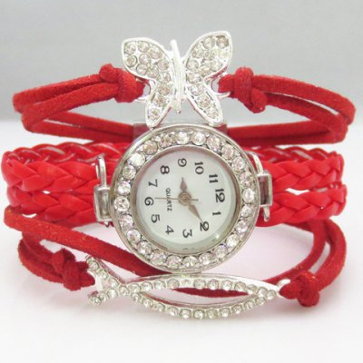 Cute Stylish Women's Fish Butterfly Rhinestone Layered Friendship Bracelet Watch