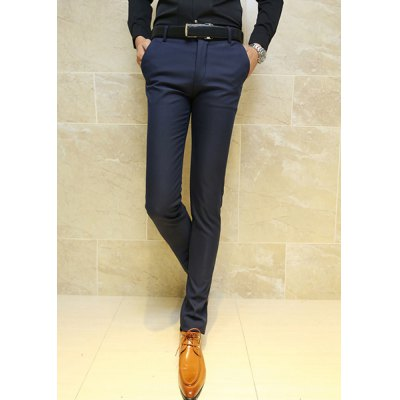 Гаджет   Slimming Stylish Solid Color Straight Leg Thicken Cotton Blend Pants For Men Pants