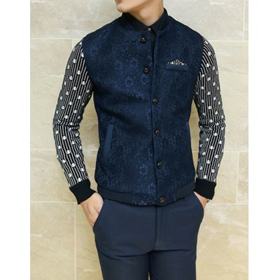 Гаджет   Stylish Stand Collar Slimming Floral Lace Stripe Splicing Long Sleeve Thicken Polyester Jacket For Men Jackets & Coats