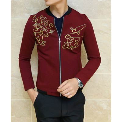 Гаджет   Stylish Stand Collar Slimming Embroidered Rib Splicing Long Sleeve Thicken Polyester Jacket For Men Jackets & Coats