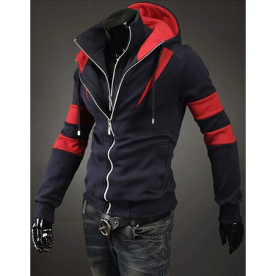 ФОТО Slimming Color Splicing Hooded Double Zipper Faux Twinset Design Long Sleeves Men