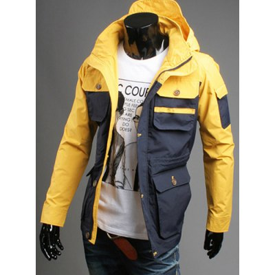 ФОТО Casual Style Hooded Large Pocket Embellished Slimming Color Splicing Long Sleeves Men