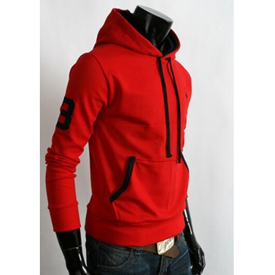 ФОТО Trendy Hooded Fawn Embroidery Slimming Color Block Purfle Long Sleeves Men