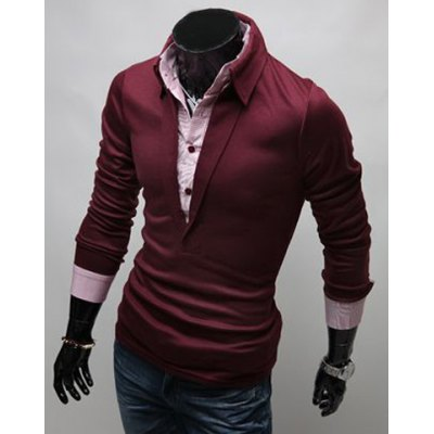ФОТО Stylish Turn-down Collar Slimming Color Block Faux Twinset Long Sleeves Men