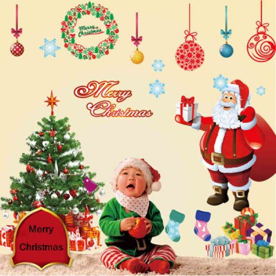 2Pcs Removable Home Decor Novelty Santa Claus and Xmas Tree Pattern Wall Sticker Art Mural Christmas Outfit