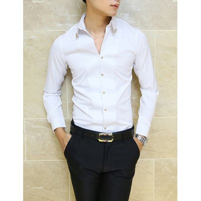 Гаджет   Stylish Shirt Collar Slimming Solid Color Metal Fawn Embellished Long Sleeve Polyester Shirt For Men Shirts