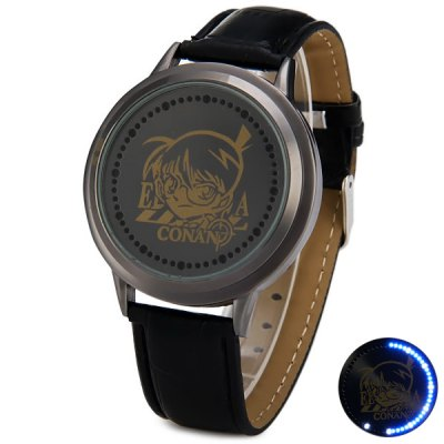 Touch Screen LED Watch with Conan Pattern Leather Wristband Round Dial