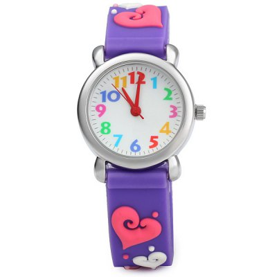 Christmas Gift Children Quartz Watch Heart Pattern Rubber Watch BandKids Watches<br>Christmas Gift Children Quartz Watch Heart Pattern Rubber Watch Band<br><br>Watches categories: Children watch<br>Watch style: Lovely<br>Available color: Purple<br>Movement type: Quartz watch<br>Shape of the dial: Round<br>Display type: Analog<br>Case material: Stainless steel<br>Band material: Rubber<br>Clasp type: Pin buckle<br>The dial thickness: 0.6 cm / 0.2 inches<br>The dial diameter: 2.5 cm / 1.0 inches<br>The band width: 1.4 cm / 0.6 inches<br>Product weight: 0.024 kg<br>Product size (L x W x H) : 20.3 x 2.5 x 0.6 cm / 8.0 x 1.0 x 0.2 inches<br>Package contents: 1 x Watch