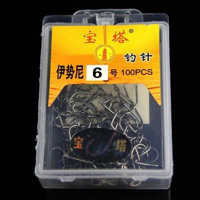 100Pcs Durable NO.6 Fishing Hook Bait Holder Fishhook