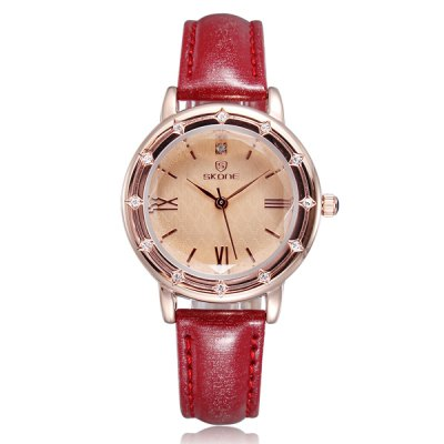 Skone Women Japan Quartz Watch with Diamond Leather Strap Round DialWomens Watches<br>Skone Women Japan Quartz Watch with Diamond Leather Strap Round Dial<br><br>Watches categories: Female table<br>Available color: Red, Brown<br>Style : Fashion&amp;Casual<br>Movement type: Quartz watch<br>Shape of the dial: Round<br>Display type: Analog<br>Case material: Alloy<br>Band material: Leather<br>Clasp type: Pin buckle<br>Water Resistance : Life water resistant<br>The dial thickness: 0.7 cm / 0.3 inches<br>The dial diameter: 3.1 cm / 1.2 inches<br>The band width: 1.2 cm / 0.5 inches<br>Product weight: 39 g<br>Product size (L x W x H) : 22.7 x 3.1 x 0.7 cm / 8.9 x 1.2 x 0.3 inches<br>Package contents: 1 x Watch
