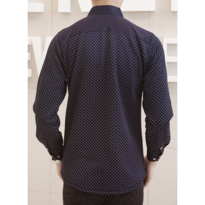 Гаджет   Stylish Shirt Collar Slimming One Pocket Tiny Checked Design Long Sleeve Thicken Cotton Blend Shirt For Men