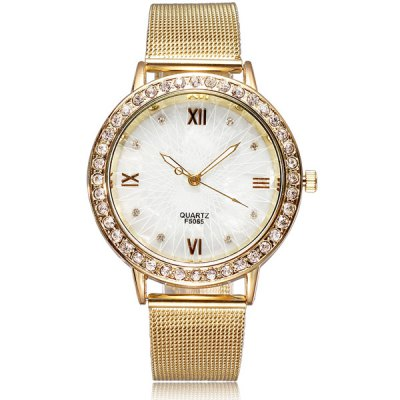 F5065 Women Diamond Quartz Watch Round Dial Steel Net StrapWomens Watches<br>F5065 Women Diamond Quartz Watch Round Dial Steel Net Strap<br><br>Watches categories: Female table<br>Available color: Gold<br>Style : Fashion&amp;Casual<br>Movement type: Quartz watch<br>Shape of the dial: Round<br>Display type: Analog<br>Case material: Alloy<br>Band material: Alloys<br>Clasp type: Pin buckle<br>The dial thickness: 0.9 cm / 0.4 inches<br>The dial diameter: 4.2 cm / 1.7 inches<br>The band width: 1.6 cm / 0.6 inches<br>Product weight: 0.05 kg<br>Product size (L x W x H) : 23 x 4.2 x 0.9 cm / 9.1 x 1.7 x 0.4 inches<br>Package contents: 1 x Watch