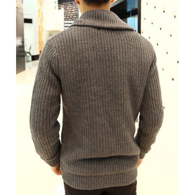 Гаджет   Fashionable Turn-down Collar Solid Color Loose-Fitting Long Sleeves Men