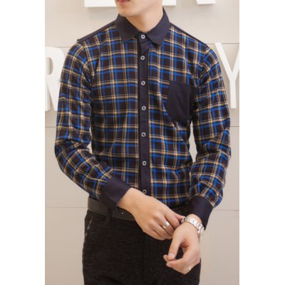 Гаджет   Stylish Shirt Collar Slimming One Pocket Colorful Checked Splicing Long Sleeve Thicken Cotton Blend Shirt For Men Shirts