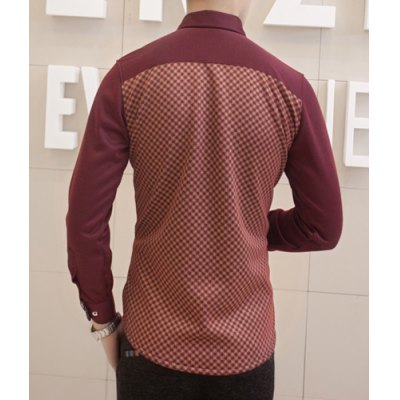 Гаджет   Stylish Shirt Collar Slimming One Pocket Ethnic Tiny Checked Splicing Long Sleeve Thicken Cotton Blend Shirt For Men Shirts
