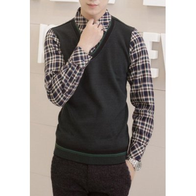 Гаджет   Stylish Shirt Collar Slimming Faux Twinset Checked Design Long Sleeve Thicken Cotton Blend Shirt For Men Shirts