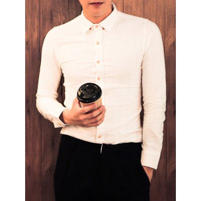 Гаджет   Stylish Shirt Collar Slimming Dark Stripe Design Long Sleeve Cotton Blend Shirt For Men Shirts