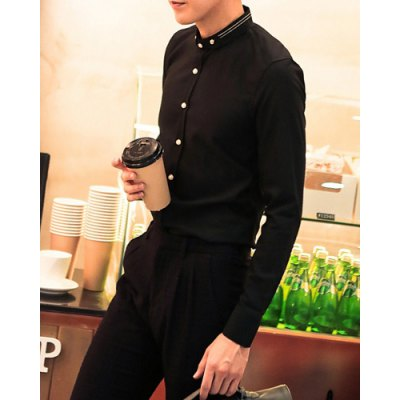 Гаджет   Stylish Shirt Collar Slimming Ribbon Splicing Button Design Long Sleeve Cotton Blend Shirt For Men