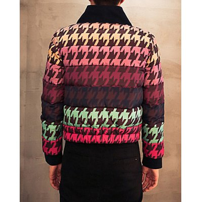 Гаджет   Stylish Stand Collar Loose Fit Color Block Houndstooth Print Long Sleeve Thicken Cotton Blend Coat For Men Jackets & Coats