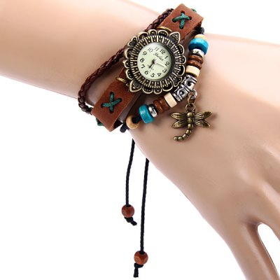 Yulan Lady Quartz Watch Leather Band Round Dial