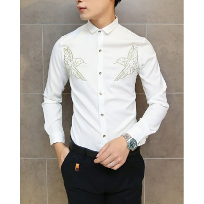 Гаджет   Laconic Solid Color Turn-down Collar Slimming Bird Embroidery Long Sleeves Men