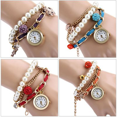 Yulan Female Quartz Chain Watch Beads Round Dial