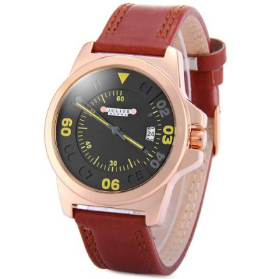 Julius 075 Quartz Watch with Date Round Dial Leather Strap for Women