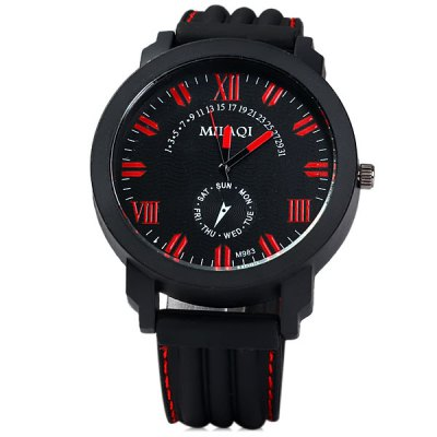 Фотография MilaQi M983 Men Quartz Watch Round Dial Rubber Band