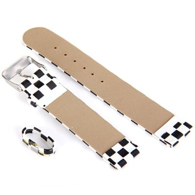 1.3cm Grid Pattern Leather Watch Band Strap