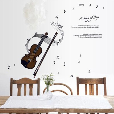Creative Reusable DIY Violin Pattern Wall Sticker Removable Decor Mural for House Ornament