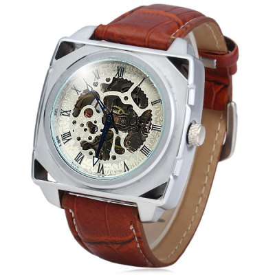 ФОТО Goer Hollow - out Automatic Mechanical Watch Leather Band Rectangle Dial for Men