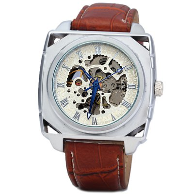 Фотография Goer Hollow - out Automatic Mechanical Watch Leather Band Rectangle Dial for Men