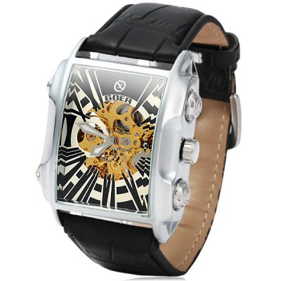 Гаджет   Goer Hollow - out Automatic Mechanical Watch Leather Band Arch Dial Men Wristwatch Men