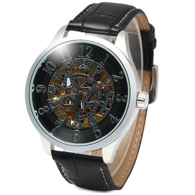 Гаджет   Goer Automatic Mechanical Watch with Hollow Pattern Round Dial Leather Strap for Men Men