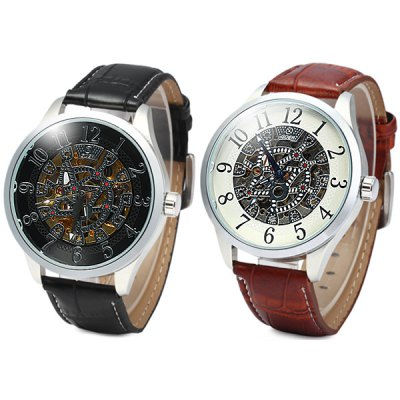 ФОТО Goer Automatic Mechanical Watch with Hollow Pattern Round Dial Leather Strap for Men