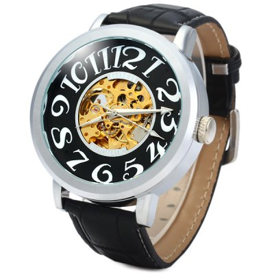ФОТО Goer Automatic Mechanical Watch Round Dial Leather Strap for Men