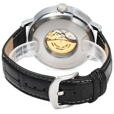 Фотография Goer Automatic Mechanical Watch Round Dial Leather Strap for Men