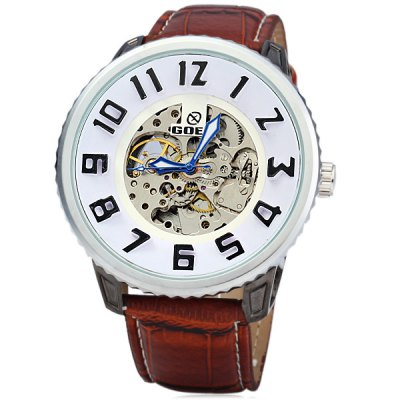ФОТО Goer Automatic Mechanical Watch 3D Scale Round Dial Leather Strap for Men