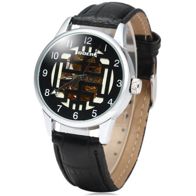 ФОТО Goer Men Automatic Mechanical Watch Hollow Out Leather Band Round Dial