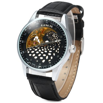 ФОТО Goer Men Leopard Automatic Mechanical Watch Hollow - out Leather Band Round Dial