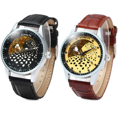 Фотография Goer Men Leopard Automatic Mechanical Watch Hollow - out Leather Band Round Dial