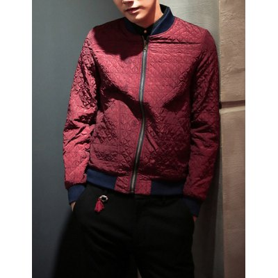 Гаджет   Stylish Stand Collar Slimming Vintage Rhombus Print Reversible Design Long Sleeves Men